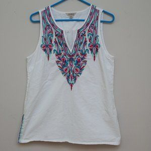 Lucky Brand Sleeveless Embroidered Shirt Medium